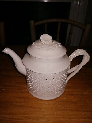 Hartley Greens And Co Leeds Pottery Creamware Pierced Teapot 5 3/4  Height  • 148.95£