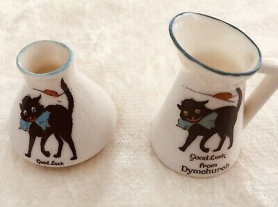 Vintage Lucky Black Cat Crested China. • 7£