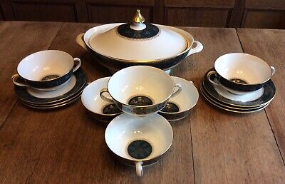 Royal Doulton CARLYLE Soup Turin Set  6 Bowls & Saucers Collect WF15 • 12.50£