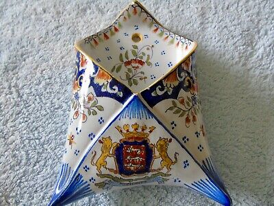 French Faience Coutainville Hand Painted Wall Pocket • 7£