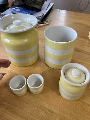 Yellow Cornish Ware Canister Pots And Egg Cups All Perfect Condition T G Green • 50£