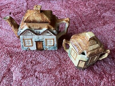 Vintage Keele St. Pottery Teapot And Sugar Dish In A Shape Of Cottage • 4.50£