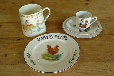 5 Pieces Vintage Children's/Nursery China/Ceramics - Mug/Cup/Saucer/Plates • 6£