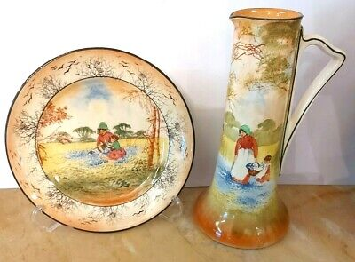 Royal Doulton Series  Bluebell Gatherers  Jug And Plate. Different Scenes • 30£