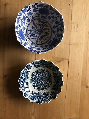 Two Blue And White Bowls, One Delft • 12£