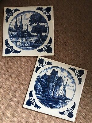 Blue And White Delft Style Tiles • 2.90£
