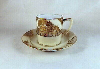 Noitake 1930's Heavily Gilded Demi-tasse Cup & Saucer • 9£