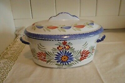 A Vintage Quimper Pottery Hand Painted Casserole With Lid - 2 Litre Approx • 35.99£