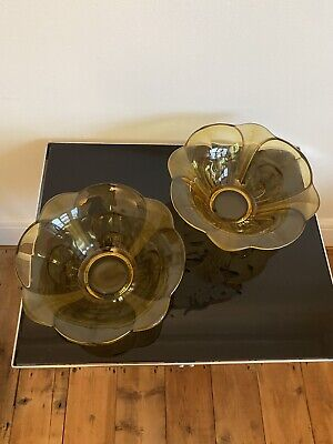 Two Art Deco Amber Pressed Glass Fruit Bowls (slightly Different Sizes) • 15£