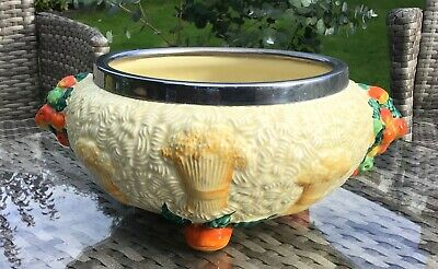 1930s BARBOLA/CLARICE CLIFF CHROME MOUNTED POTTERY HARVEST BOWL • 19.99£