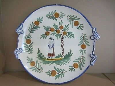 Vintage Henriot Quimper Style Pottery Plate Featuring Breton Girl. • 5£