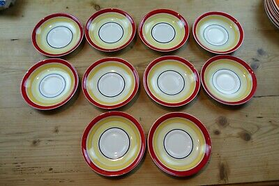 11 Art Deco Gray's Pottery Susie Cooper? Banded 5.5  Saucers Red/Yellow/Black • 8£