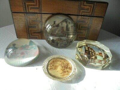 4 Antique/vintage Assorted Glass Paper Weights • 22£