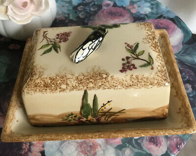 Quimper France  Butter Dish Lid Cicada Handle Insect Handpainted Butter Dish • 45£