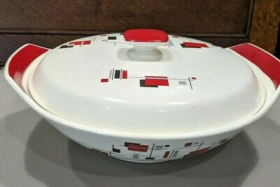 Vintage Palissy Gayday Tureen 1950's Red Black Geometric Design – Retro • 22£