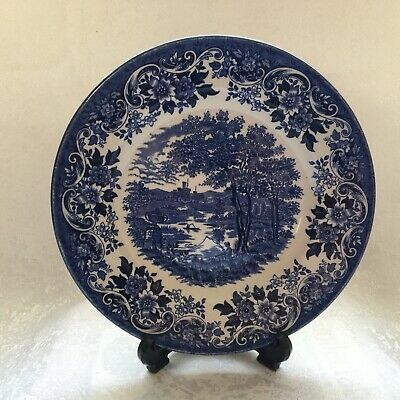 Vintage Blue And White Broadhurst Staffordshire The English Scene 8  Plate • 5£