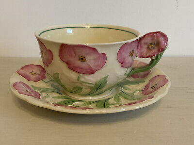Vintage Grindley Art Deco Cup & Saucer- Hand Painted Pink Flowers On Creamy Base • 16£