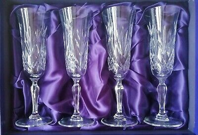 Boxed Set Of 4 Edinburgh Crystal Cut Glass Champagne Tall Flutes Perfect  • 39.99£