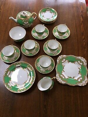 Plant Tuscan China Antique Teaset Green, White And Gold Circa 1936 • 119£