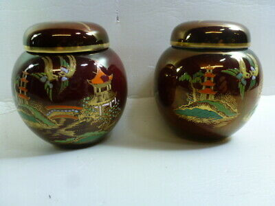 "CARLTON WARE ROUGE ROYALE MIKADO LIDDED GINGER JARS 3.5"" Tall • 10.99£"