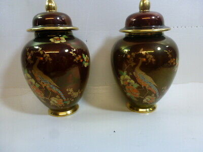 Carlton Ware Rouge Royale Temple Jars With Peacock Design (TWO JARS) • 19.99£