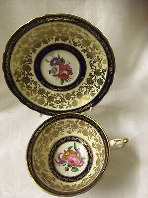 Vintage Paragon Fine Bone China Cup & Saucer Navy/gold, Floral • 25£
