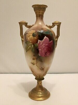 Royal Worcester Vase Painted With Hadley Roses By Reginald Austin, Dated 1909 • 102£