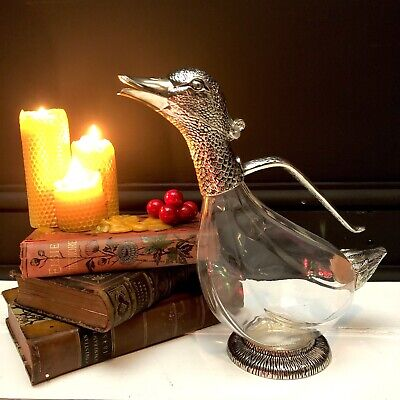 Vintage DUCK Glass & Silver Plate Wine DECANTER Carafe In Fabulous Condition. • 42£