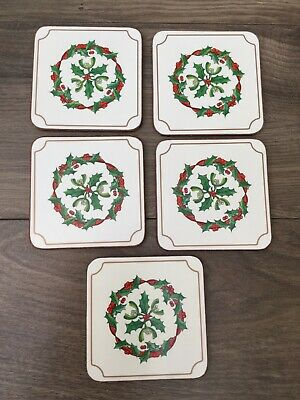 🎄🎄🎄Royal Worcester Holly Ribbons Drinks Coasters X 5 Boxed VGC • 4£