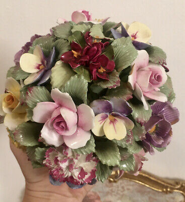 Aynsley Bone China Roses Posy Flowers  Bouquet  Basket Ornament Very Large READ • 125£