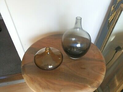 Retro Ikea Salong Vases Pair Smoked Amber Grey Glass Suit Stylish Home  • 19.80£