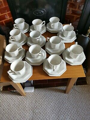 12 X White Johnson Brothers Hexagonal Cup & Sauce & 6 Cake Plates Set • 15£