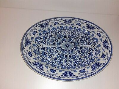 Antique Tg & F Booths Indian Ornament Blue White Serving  Plate 14 Inches • 99.99£