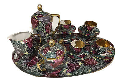Coffee Set Czech Porcelain Pink Green With Matching Tray Delightful  • 65£