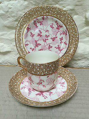 Antique Unmarked Coffee Cup Can Trio Gold Pink Porcelain China Japanese Plate • 35£