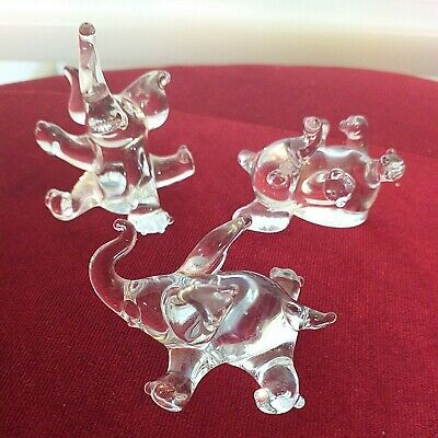 A LOVELY HANDMADE 3 Three CRYSTAL ELEPHANT • 6.99£