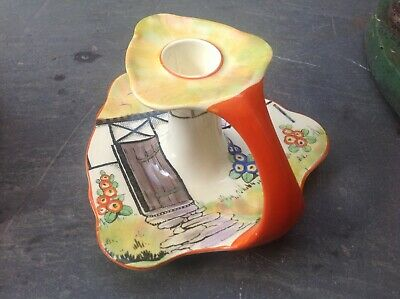 Vintage Crown Ducal Art Deco Hand Painted Chamberstick Candle Holder Cottage • 35£