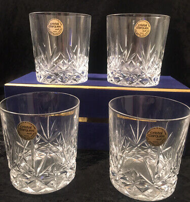 Cristal Darques Set 4 Lead Crystal Whisky Glasses Tumblers Amazing New • 49.99£
