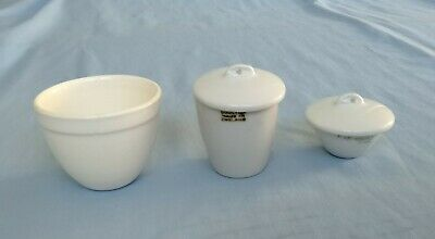 Royal Worcester & Doulton Porcelain Laboratory Ware Sillax Crucibles Odds • 10£