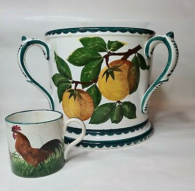 Massive Wemyss Pottery Tyg Loving Cup Impressed Mark Iris Fox Collection Oranges • 164.99£