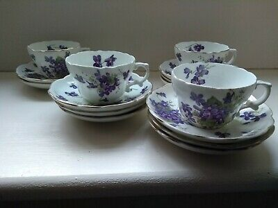 Hammersley Victorian Violets China Tea Cups And Saucers • 10.50£