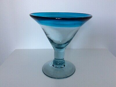 Large Hand Blown Art Glass Vase Martini Cocktail Glass • 16.99£