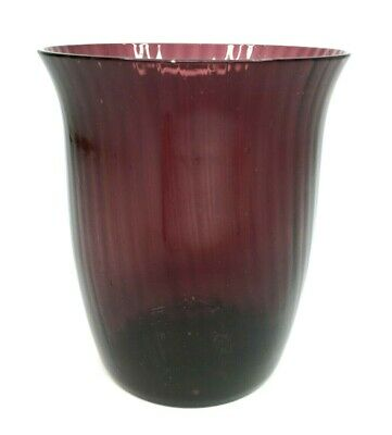 Antique Vintage Hand Blown Amethyst Glass Tumbler 10.5cm Tall - 108g • 12£