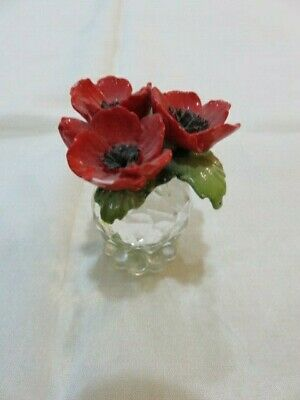 Attractive Cut Crystal Ornament With Pottery Poppies • 0.99£