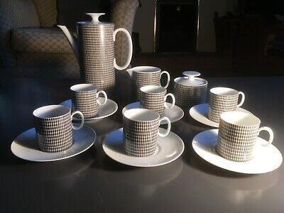 Thomas Of Germany Onyx Grey Coffee Set 1960/70s, Lovely Condition, 17 Pieces • 1£
