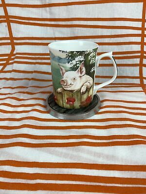 Bone China Mug Pig Design By Ann Blockley ~ Fenton China • 10.99£