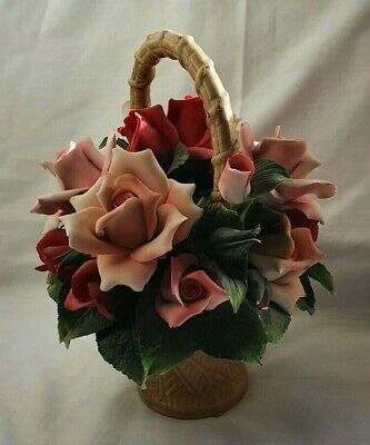 Franklin Mint The Rose Basket Of Capodimonte - Made In Italy 1990 (LR228) • 8.99£