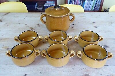 Vintage French? Stoneware Casserole/Stock Pot And 6 Soup/Casserole Dishes • 18£
