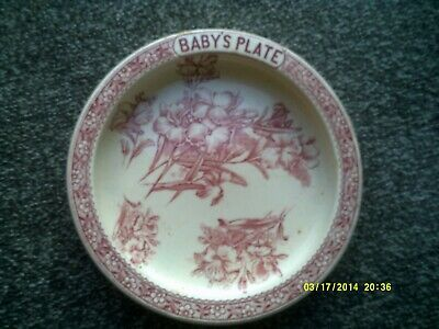 Antique Baby Plate Bowl Pink Designed Pre-owned • 8.75£