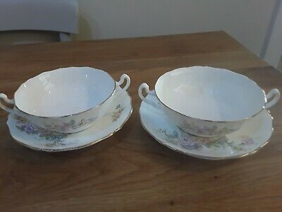 2 X  Adderley Floral Pattern  Bone China Soup Coupes  & Saucers  • 10£